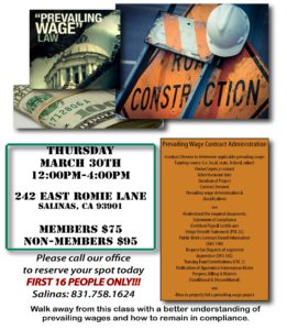 PREVAILING WAGE CLASS (2nd CLASS) @ Central Coast Builders Association | Salinas | California | United States